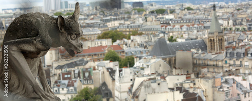 gargoyle of the cathedral of Notre Dame in Paris in France - 262321500