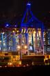 canvas print picture - Hafen bei Nacht in blau 01