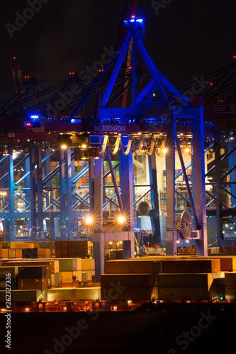canvas print picture Hafen bei Nacht in blau 01