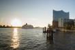 canvas print picture - Elbphilharmonie in der Sonne mit Schiff