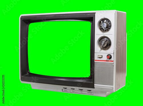 Leinwandbild Motiv Vintage television isolated with chroma green screen and background.