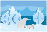 Polar bear and bear. Arctic landscape with icebergs