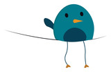 A bluebird perched on a string vector or color illustration