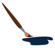 A brown brush dipped in blue paint vector or color illustration