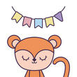 cute monkey animal with garlands hanging