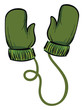 A pair of green winter gloves vector or color illustration - 262374987