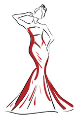 A silhouette of a beautiful woman in red-colored maxi vector or color illustration