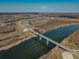 Aerial drone view of bridge over Don River in Zadonsk, Lipetsk region