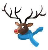 Christmas deer with blue scarf vector illustration on a white background