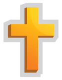 Yellow Christian Cross vector illustration on a white background