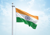 3D Rendering of India Flag is Waving in the Sky - 3d illustration