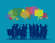 Vector illustration of meeting, The discussion, Listening & Talking, Brainstorming.