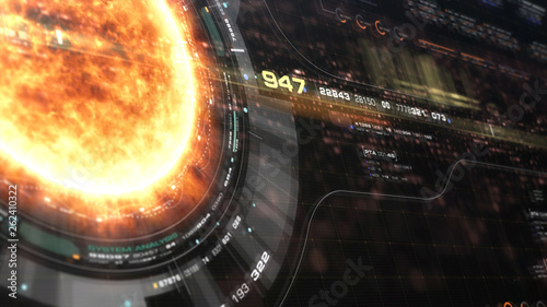 Futuristic motion graphic user interface head up display screen with Holographic Sun Corona Particles and digital data telemetry information display for digital background - 262410322