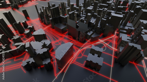 Futuristic night city. 3D illustration - 262413311
