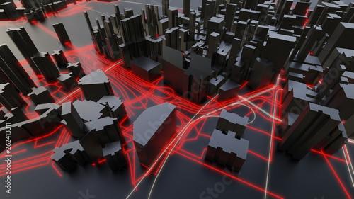 Futuristic night city. 3D illustration - 262413311