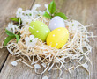 Leinwanddruck Bild - Nest with easter eggs