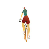 Man in a helmet rides a bicycle. View from the back. Vector illustration.