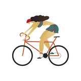 Girl in the helmet quickly rides a bicycle. Vector illustration.
