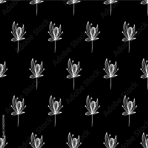 Pattern seeds with white lines on a black background vector illustration - 262433146