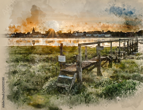 Landscape watercolour painting of Low tide landscape of Bosham Harbour with private jetty. © veneratio