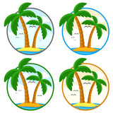 Set of logos with palm trees on the island in different colors. - 262438181