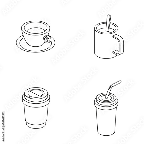 Tea coffee drink 3d vector icon isometric lines color minimalism illustrate