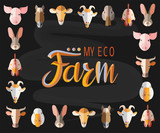 Vector illustration of animals in the style of flat art with the inscription My Eco Farm. Can be used for business card or postcard.