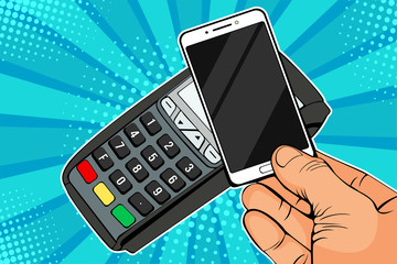 POS terminal, Payment Machine with mobile phone. Contactless payment with NFC technology. Colorful vector illustration in pop art retro comic style