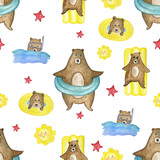 watercolor pattern of bears on the river. Summer set