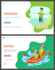 Highlining balancing man vector, male walking on thin line walker with stretched hands. Rafting team in boat, boating and kayaking male and female. Website or webpage template, landing page flat style
