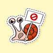 Snail sticker. Funny emoji. Icon, elements.