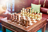 Chess on vintage wooden table