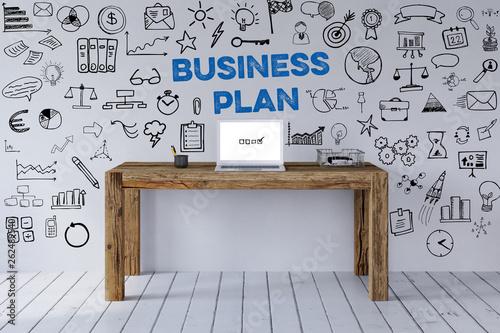 canvas print picture Business Plan Konzept mit Schreibtisch