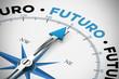 Kompass zeigt in Richtung Futuro / Zukunft