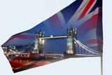 Uk flag and Tower Bridge