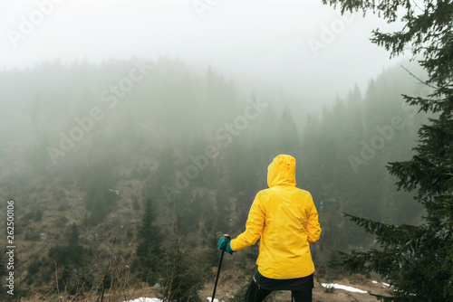 Female hiker looks at view