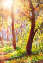 "Постер, картина, фотообои ""Oil painting sunny spring forest park landscape illustration nature bokeh, beautiful trees shadows on ground canvas art. Palette knife artwork. Impressionism. Art."""