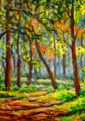Oil painting sunny spring forest park landscape illustration nature, beautiful trees shadows on ground canvas art. Palette knife artwork. Impressionism. Art.