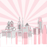 New York city scape on Retro sun ray background. Hand drawn vector doodle graphics. Pink and black colours. Perfect for girlish design.