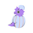 Cute Little Purple Dino Hatched from Egg, Adorable Baby Dinosaur Character Vector Illustration