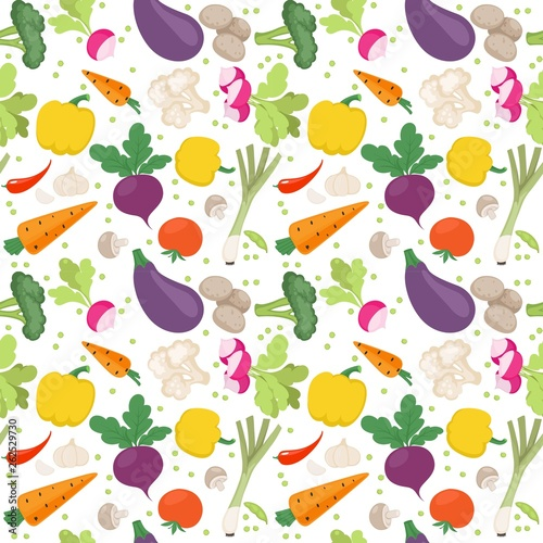 Seamless pattern from fresh vegetables radishes, carrots, tomatoes, beets, shallots on a white background © yadviga