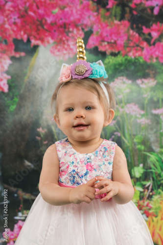 canvas print picture adorable little girl wearing spring colors
