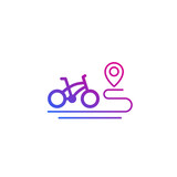 bike and route icon on white