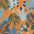 Tropical leaves on yellow background. Vector design.
