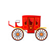 Red royal carriage vector illustration. Equipage, king, medieval transport. Monarchy attributes concept. Vector illustration can be used for topics like history, fairytale, transportation