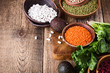 Variety of beans and legumes, healthy plant based vegan food