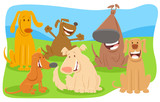 happy dogs cartoon characters group