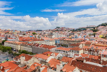 View over the rooftops of Lisbon, Portugal from the elevator de santa justa or santa just a lift which was built in 1902 to connect lower streets