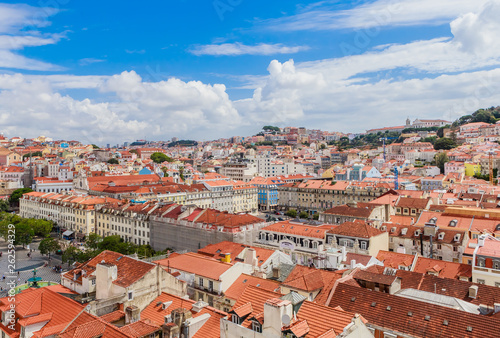 View over the rooftops of Lisbon, Portugal from the elevator de santa justa or santa just a lift which was built in 1902 to connect lower streets - 262594329