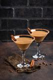 Chocolate martini cocktail or Irish cream liquor